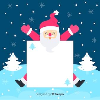 빈 기호 크리스마스 배경으로 플랫 산타