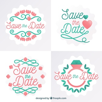 Flat save the date label/badge collection