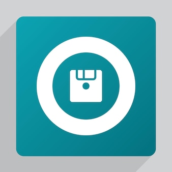 Flat save icon, white on green background