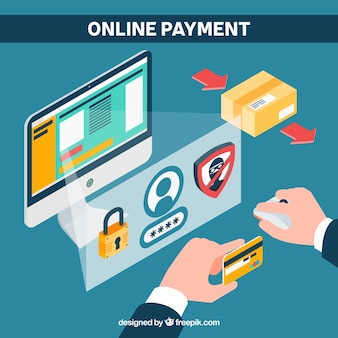 Flat scene about e-payment