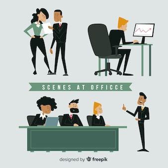Flat scenes at office set