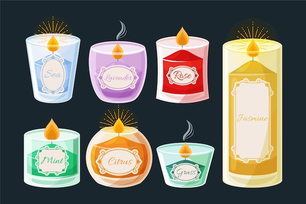 Flat scented candle set