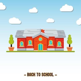 Flat school building vector