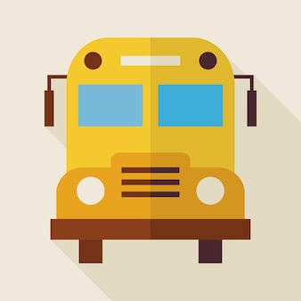 Flat school bus illustration with long shadow. back to school and education vector illustration. flat style colorful transport object