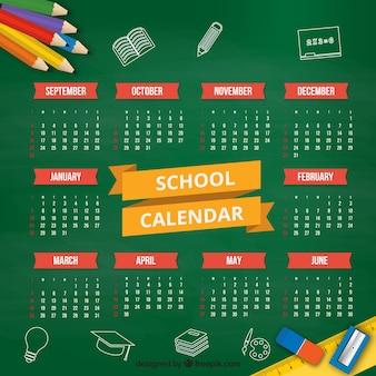 黒板にフラットな学校のカレンダー