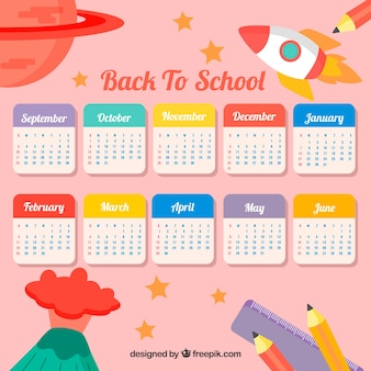 Flat school calendar with space style