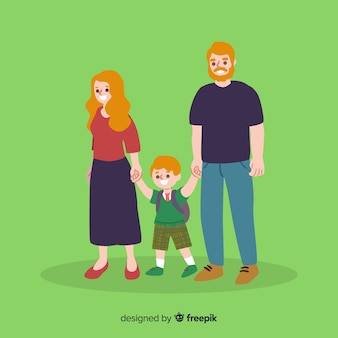 Flat school children with parents