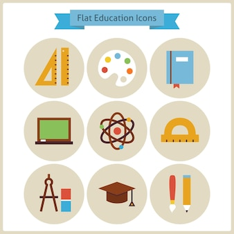 Flat school and education icons set. vector illustration. collection of knowledge colorful circle icons. science and learning. back to school concept