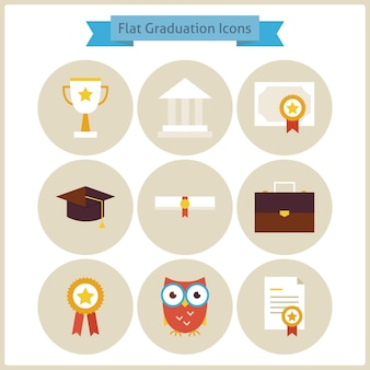 Flat school graduation and success icons set. back to school. science and education set. collection of school and university circle icons