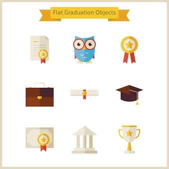 Flat school graduation and success objects set. back to school. science and education set. collection of school and university objects isolated over white.