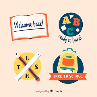 Flat school logo template collection