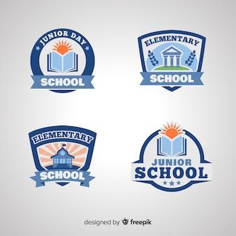 Плоский шаблон коллекции логотипа школы