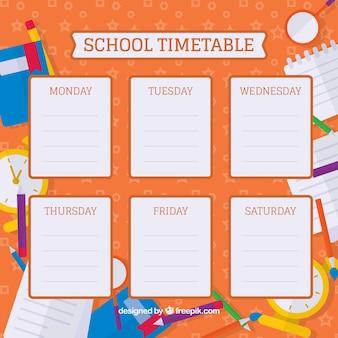 Плоские школьные материалы и яркое расписание