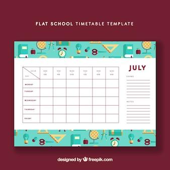Modello di calendario scuola piatta
