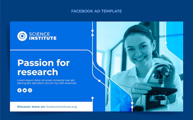 Flat science facebook ad