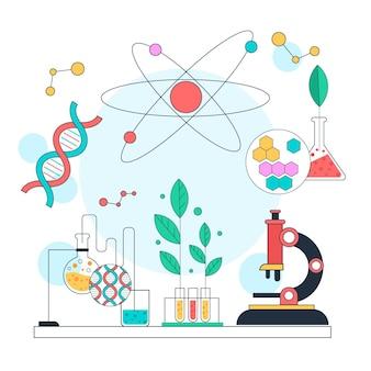플랫 과학 그림 생명 공학 개념