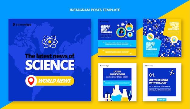Flat science instagram post pack