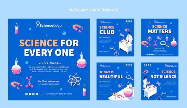 Flat science instagram post Premium Vector