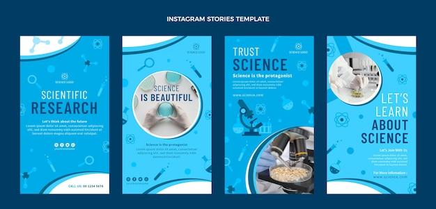 Flat science instagram stories pack