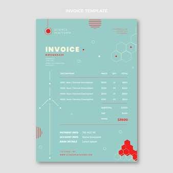 Flat science invoice template