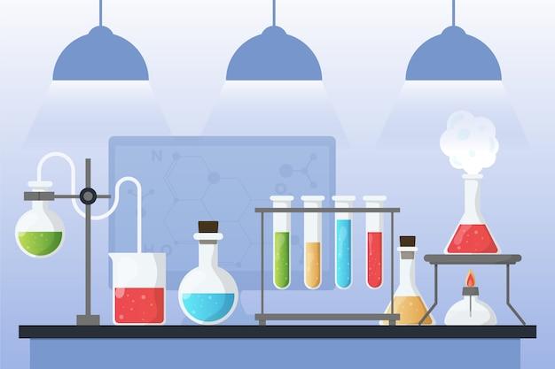 Concetto di laboratorio di scienza piatta