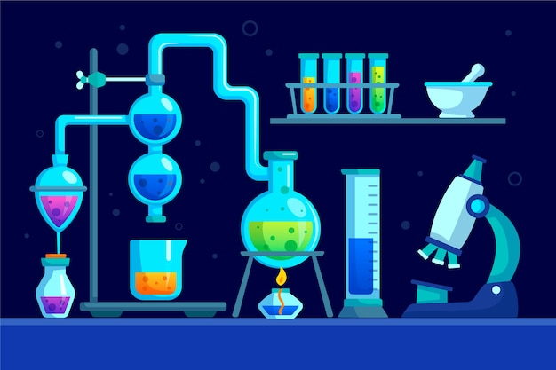 Flat science lab concept