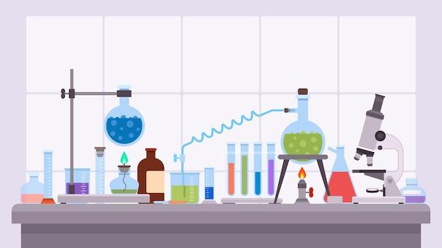 유리 비커와 플라스크를 사용한 평평한 과학 실험실 실험. 책상에 제약 연구 장비입니다. 화학 실험실 테스트 벡터 개념입니다. 장비 화학 실험실의 그림