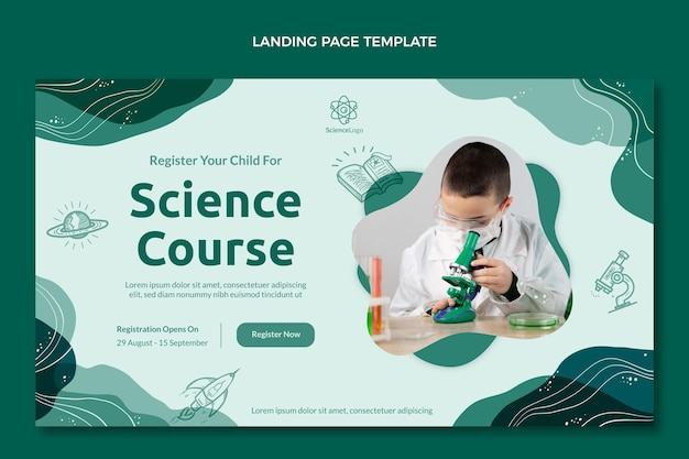 Flat science landing page template
