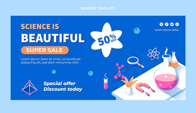Flat science sale horizontal banner template Free Vector