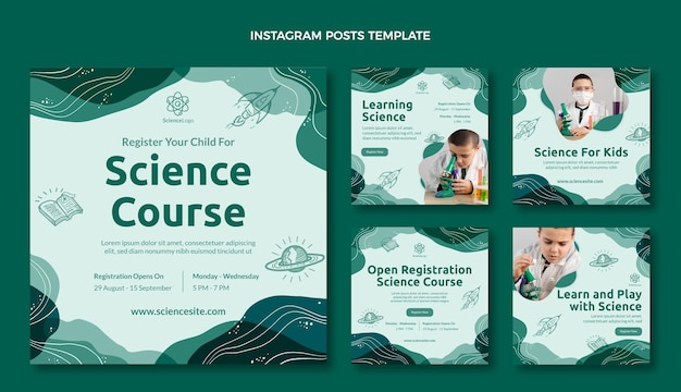 Flat science social media posts