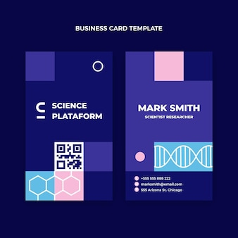 Flat science vertical business card