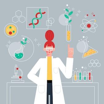 플랫 과학자 생명 공학 개념