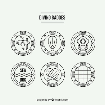 Flat scuba diving badges