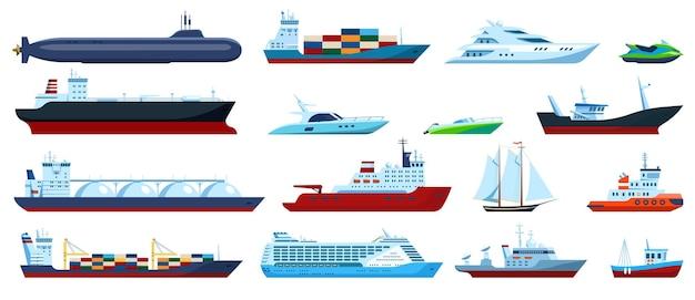 플랫 바다 보트 크루즈 화물선 요트 요트 예인선 모터보트 잠수함 낚시 보트 벡터 세트