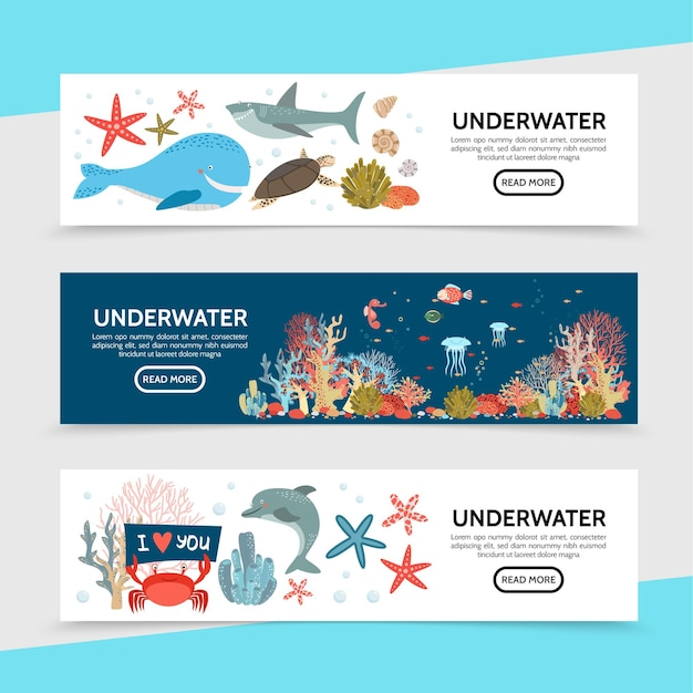 Flat sea life horizontal banners with whale shark turtle fish seahorse jellyfish starfish crab dolphin seaweed corals illustration