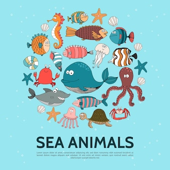 Flat sea life round concept with whale seahorse fish turtle crab lobster starfish jellyfish shark octopus illustration