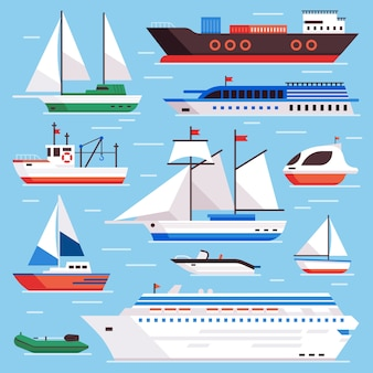Flat sea ships. marine shipping sailing boat, ocean cruise liner and icebreaker ship set