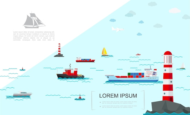 Плоский морской транспорт красочный шаблон