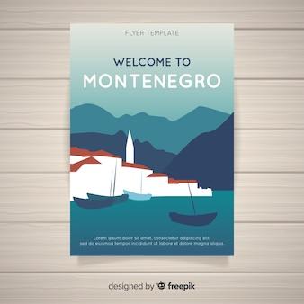 Flat sea village travel flyer