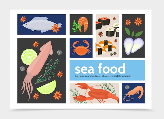 Flat seafood infographic template with natural squid fish crab lobster shrimp salmon steak mussels