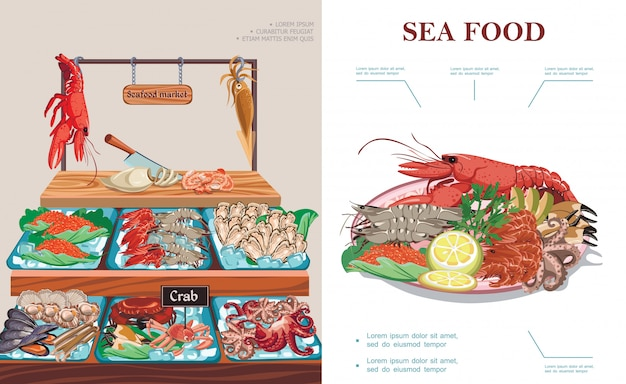 Flat seafood market concept with plate of sea food lobster squid caviar prawns shrimps mussels oysters crab scallops octopus on counter