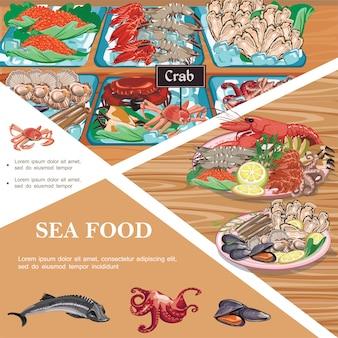카운터에 바다 음식 철갑 상어 문어 홍합 생선 캐비어 새우 굴 게의 접시와 플랫 해산물 템플릿