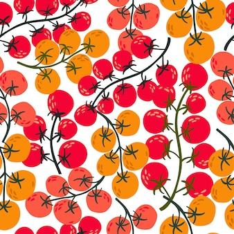 Плоский бесшовные модели черри рисованной помидор. плоские овощи на белом. веганский, выращенный, натуральный