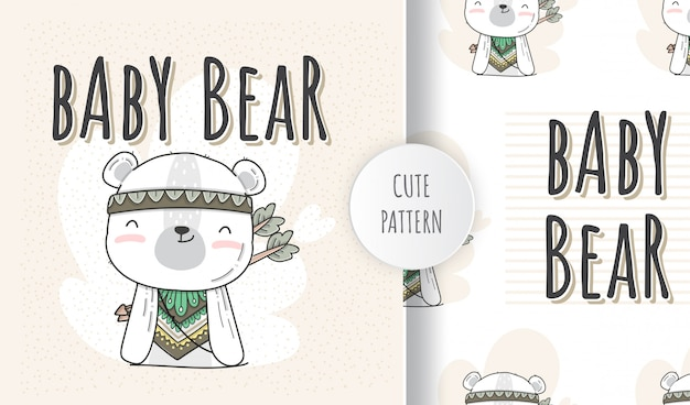 Flat  seamless pattern  cute animal baby bear boho style