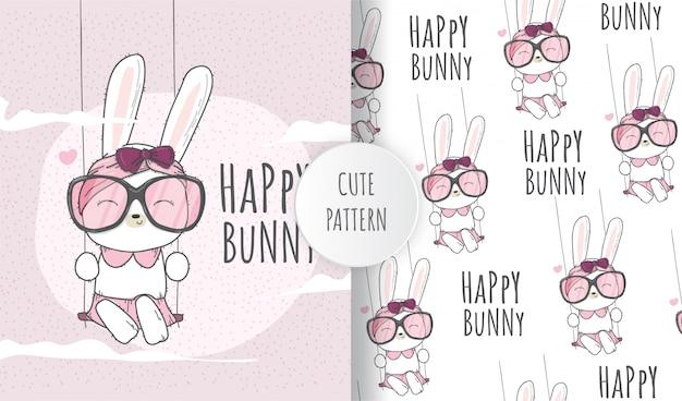 Flat seamless pattern cute animal bunny on the swing