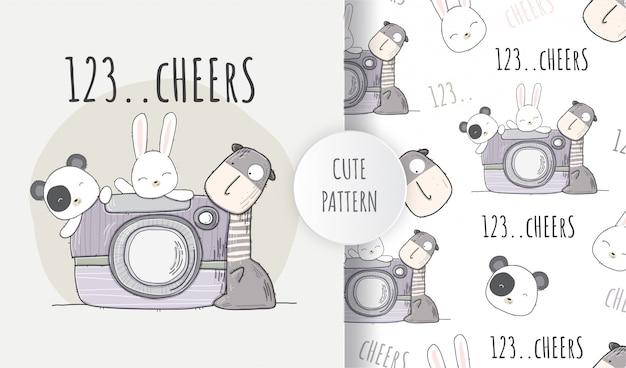 Flat seamless pattern cute animal happy camera