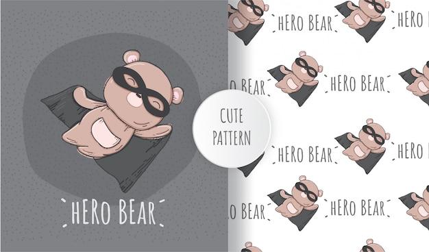 Flat seamless pattern cute animal hero bear