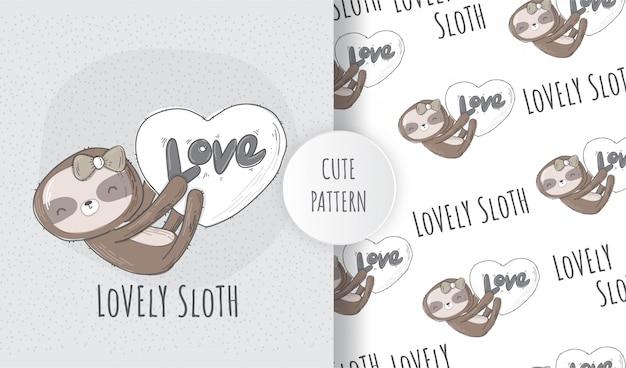 Flat seamless pattern cute animal lovely sloth