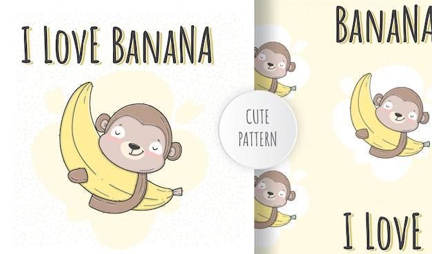 Flat seamless pattern  cute animal monkey