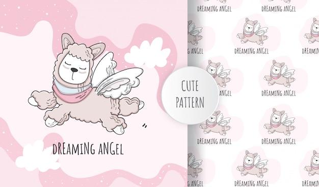 フラットのシームレスパターンかわいい動物ナマケモノの天使